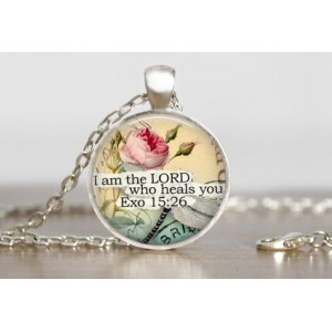 "Hanger & ketting ""I am the Lord who heals you"""